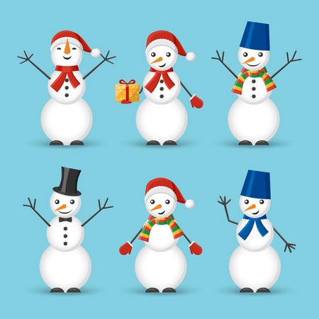 Set of icons of joyful snowmen in a Santa Claus hat and scarf, in a hat and with a butterfly. New Years and Christmas. Design for a banner, postcard, poster. Vector illustration.