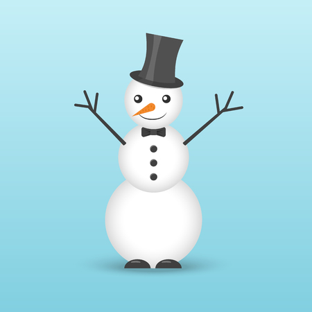 Icon of a snowman in a hat and with a bow tie. Illustration