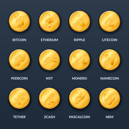 Set of gold coins with symbols and signs of popular crypto currency in the style of realism. Mining of virtual money. Vector Icons. Bitcoin.