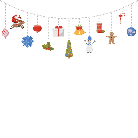 Suspended Christmas symbols. Santa Claus on a deer, Christmas tree, snowman, balls. New Year. Design for cards, poster, invitations, banners. Vector illustration. Ilustração