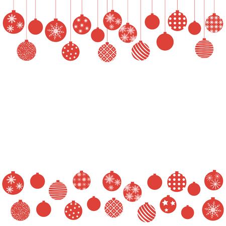 Christmas balls hanging from above and below. Ilustração