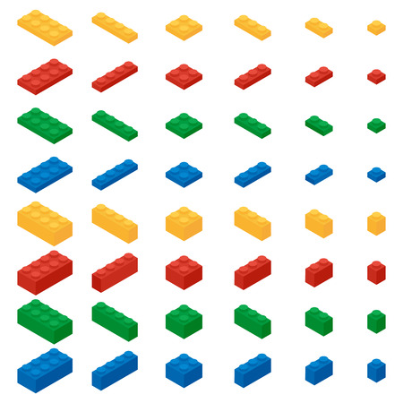 Set of colorful building blocks of a childrens designer in the