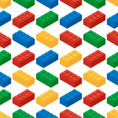 Seamless pattern from building blocks of childrens game designe 일러스트