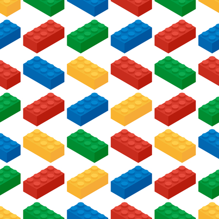 Seamless pattern from building blocks of childrens game designe Stock Illustratie