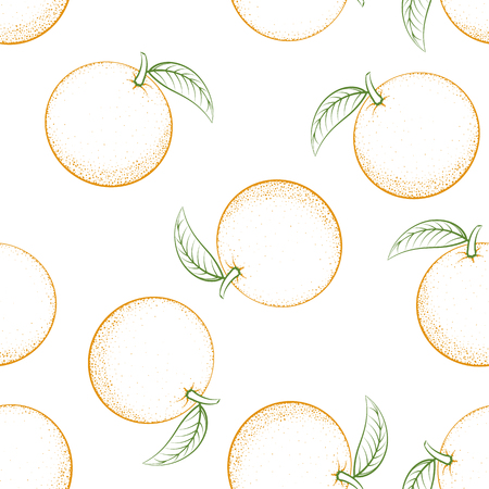 Seamless pattern from outline oranges with leaves on white background. Fruit. Design for textiles, posters, banners. Vector illustration.