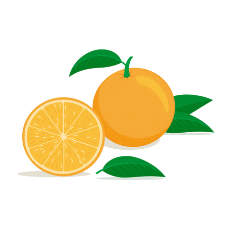 Whole and cut half oranges with green leaves on a white background. Icon. Design for a label, banner, tag. Vector illustration. Vettoriali