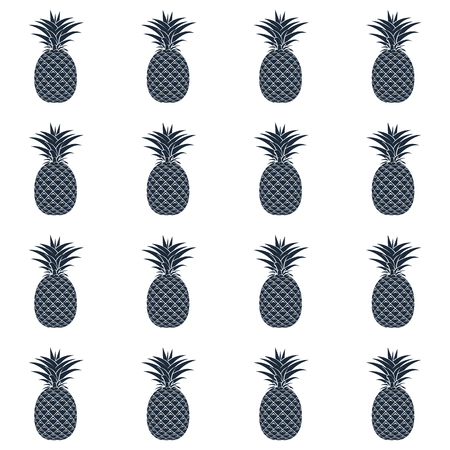 Seamless pattern of black pineapple silhouettes on a white background. Design for textiles, banners, posters. Vector illustration. Imagens - 96279756