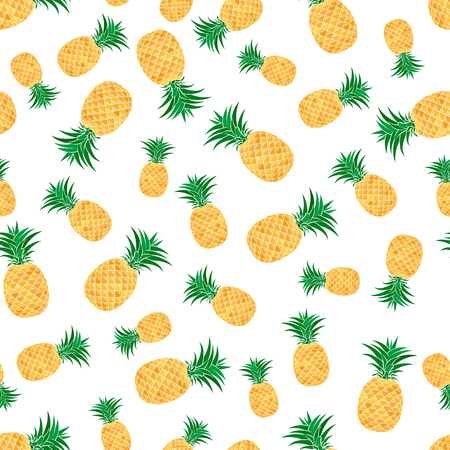 Seamless pattern from colorful pineapple on white background. Design for textiles, banners, posters. Vector illustration.