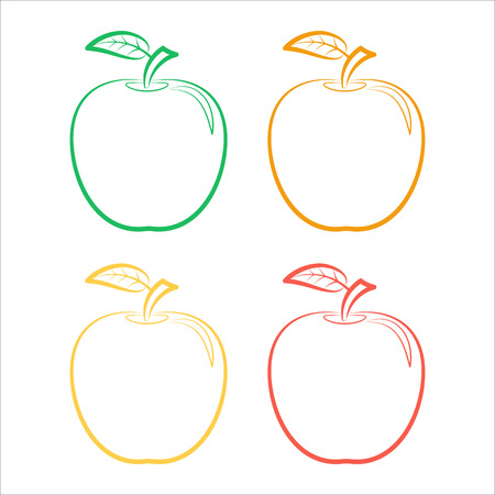 Set of outline icons of colorful apples on a white background. Illustration