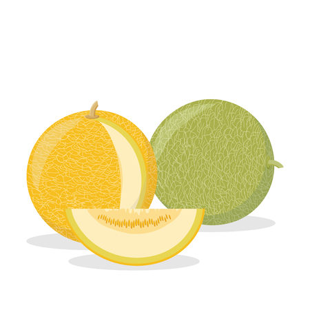 ripe yellow and green melons with a cut piece
