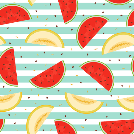 Seamless pattern of pieces of melon and watermelon