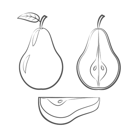 Set of outline icons of a pear on white background Illustration