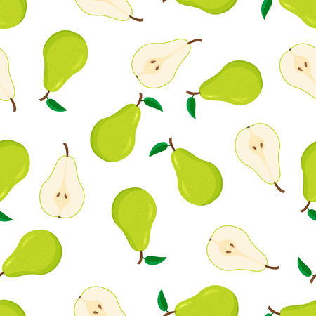 Seamless pattern from green pears with leaves, whole and cut half. Illustration