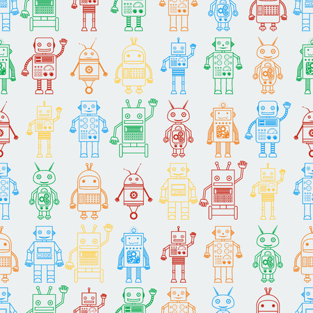Seamless pattern from outline multicolored robots