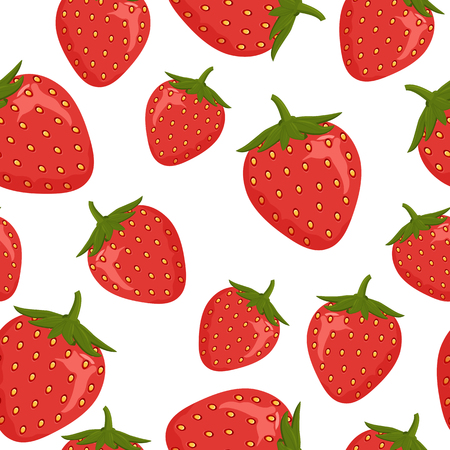 Seamless pattern and ripe red strawberries