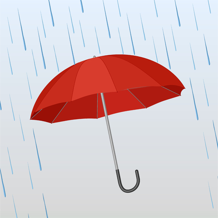 Opened red umbrella protects against rain onthe blue background. Vector illustration