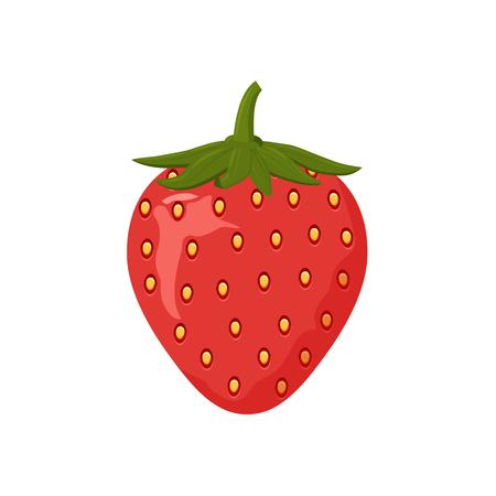 Icône de fraise colorée sur fond blanc. Conception d'une étiquette, d'une bannière, d'une affiche. Illustration vectorielle. Vecteurs