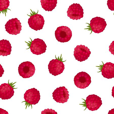 Nahtloses Muster von roten Himbeeren auf weißem Hintergrund. Design für Textilien, Etiketten, Poster, Banner. Vektor-Illustration.