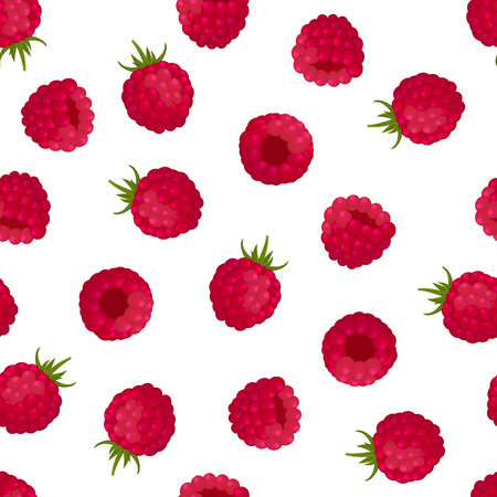 Seamless pattern of red raspberries on a white background. Design for textiles, labels, posters, banners. Vector illustration. Ilustração