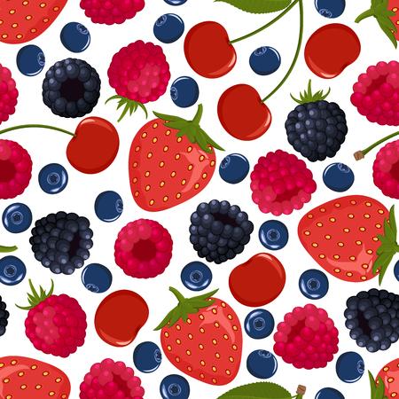 Seamless pattern from falling ripe berries
