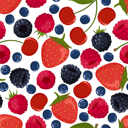 Seamless pattern from falling ripe berries