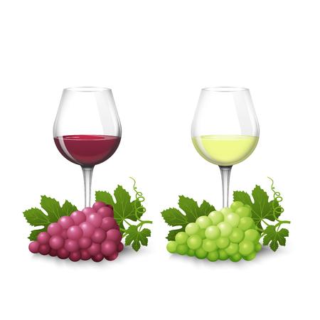 Bicchieri di vetro con vino bianco e rosso e grappoli d'uva su uno sfondo bianco in stile realismo. Design per etichette, menu, banner, poster. Illustrazione vettoriale.