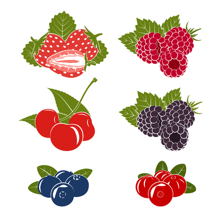 Set of berries icons on a white background