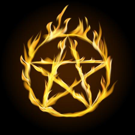 A fiery pentagram. Occult sign. Vector illustration.