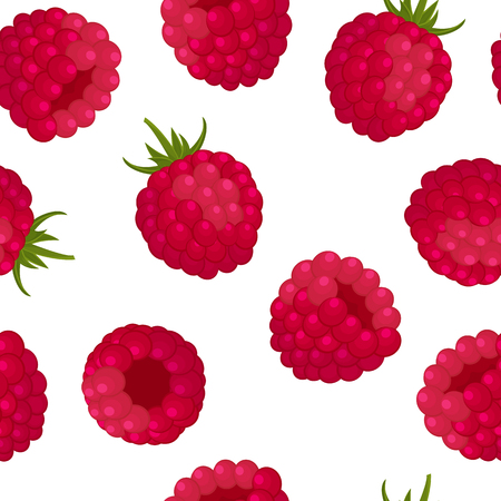 Seamless pattern - ripe red raspberries on white background. Design for textiles, labels, posters, banners. Vector illustration.