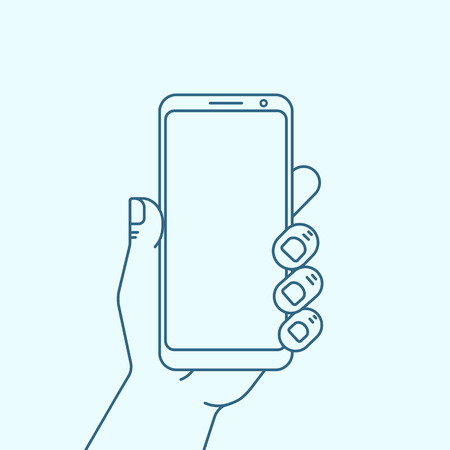 Hand with phone with empty screen. Outline icon smartphone. Vector illustration. Ilustrace