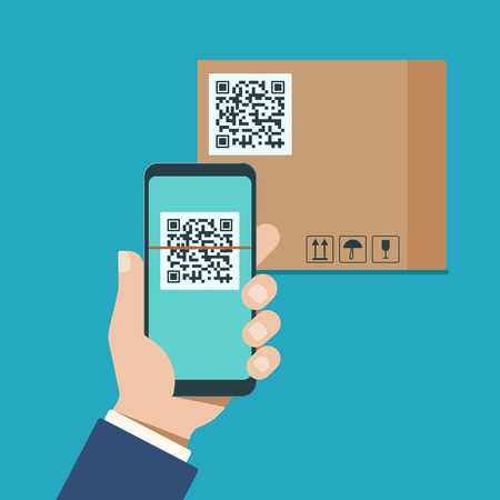 A mans hand with a modern smartphone scans qr code on a cardboard box. Vector illustration.