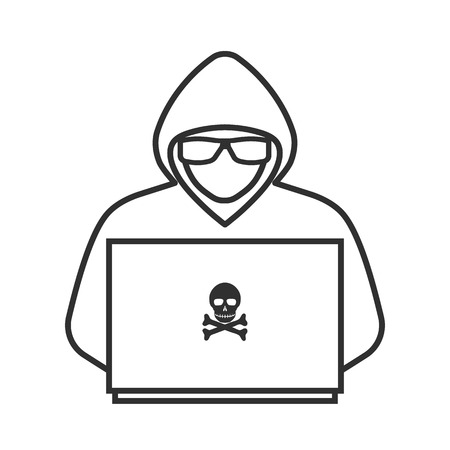 Icon of a hacker with a laptop Illustration