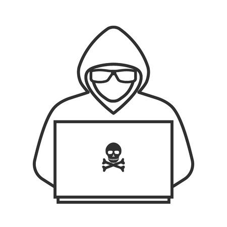Symbol eines Hackers mit einem Laptop