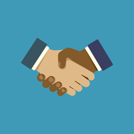 Flat style icon. Handshake. Symbol of friendship and agreement of business partners. Vector illustration. Ilustrace