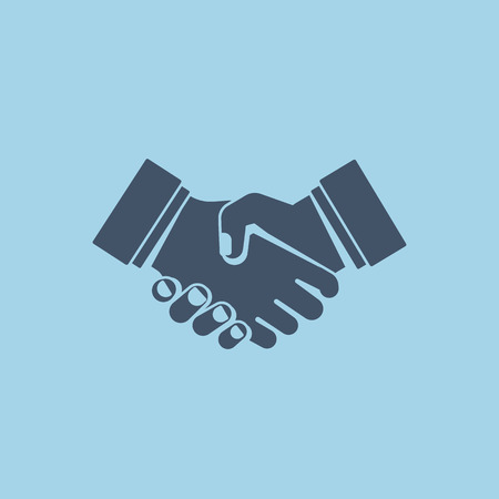 Handshake. Sign of friendship and partnership. Vector illustration in flat style. Ilustrace