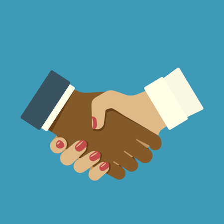 Handshake men and women. Sign of friendship and partnership. Vector illustration in flat style.