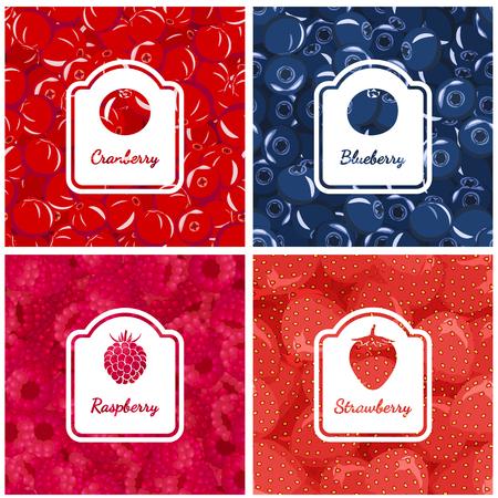 Définir des arrière-plans colorés de baies sauvages. Bleuets, canneberges, fraises, framboises. Vecteurs