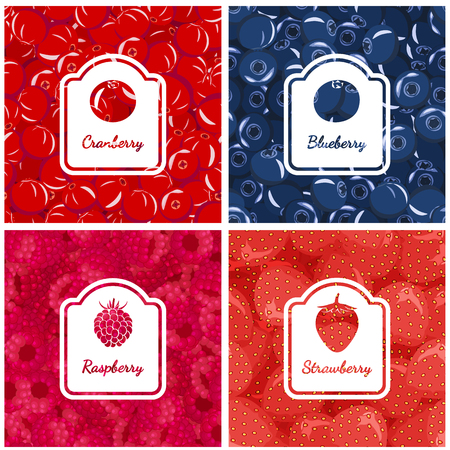 Set colorful backgrounds of wild berries. Blueberries, cranberries, strawberries, raspberries.