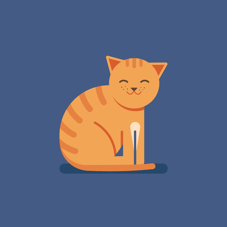 Ginger striped cat in the style of flat. Smiling contented animal. Vector illustration.