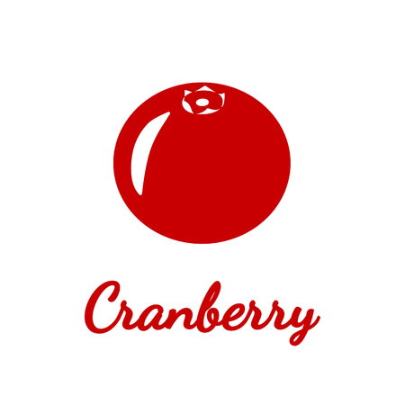 Icon of cranberries on white background. Silhouette. Vector illustration. Ilustrace