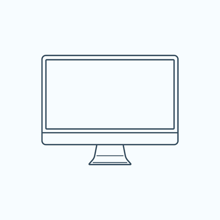 Modern computer monitor with a blank screen. Outline icon. Vector illustration. Ilustrace