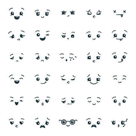 Set of cute kawaii emoticons emoji. Expression faces in the style of Japanese anime, manga. Vector illustration. Reklamní fotografie - 124651397