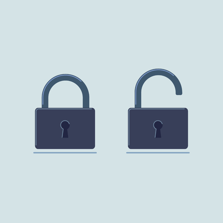 Open and closed metal locks in flat style. Icon. Vector illustration. Ilustrace