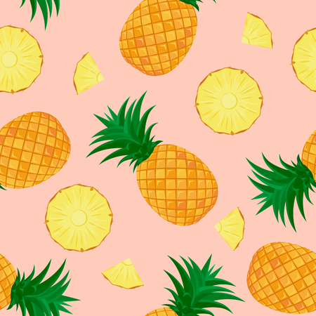 Seamless pattern. Whole pineapple and sliced pieces on a pink background. Vector illustration. Design for textiles, packaging paper, poster.