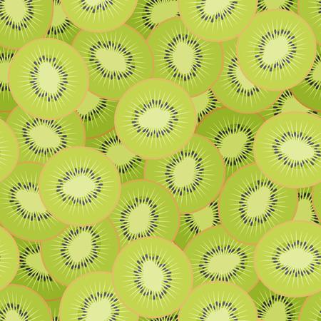 Kiwi slices seamless pattern. Design for poster, textile, label. Vector illustration. Ilustrace