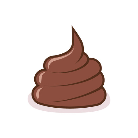 Dog poop on the ground. Brown shit on white background. Illustration