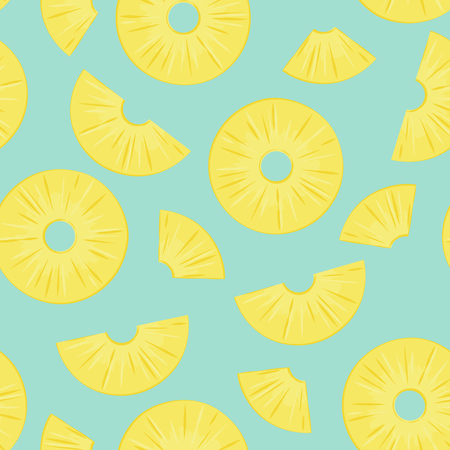 Seamless pattern from sliced pineapple pieces on a green background. Design for textiles, wrapping, poster. Vector illustration. Ilustração