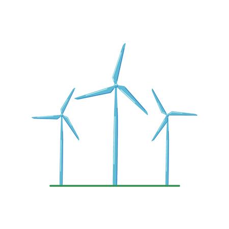 Fonte di energia alternativa, turbine eoliche su sfondo bianco. Icona di stile piatto.