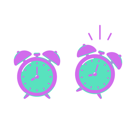 Alarm clock icons isolated on white background, flat style. Ringing alarm clock. Vector illustration. Ilustrace