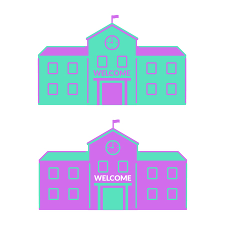 High school, college building. flat icon. education. with clock and flag. vector illustration
